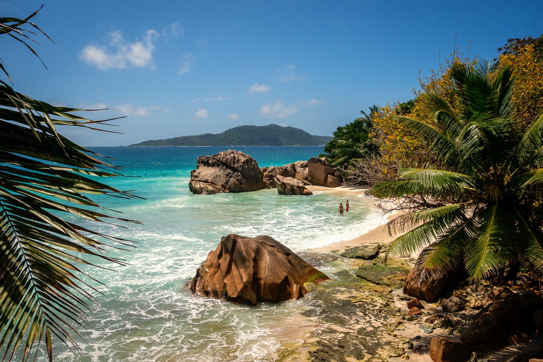 Anse Patates Strand auf La Digue, Seychellen