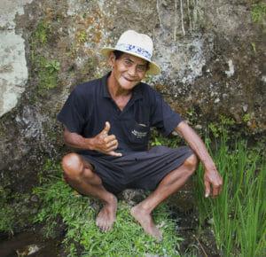Balinese in Reisfeldern