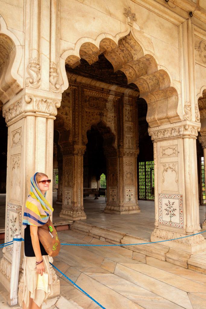Bina im Roten Fort von Old Delhi in Indien