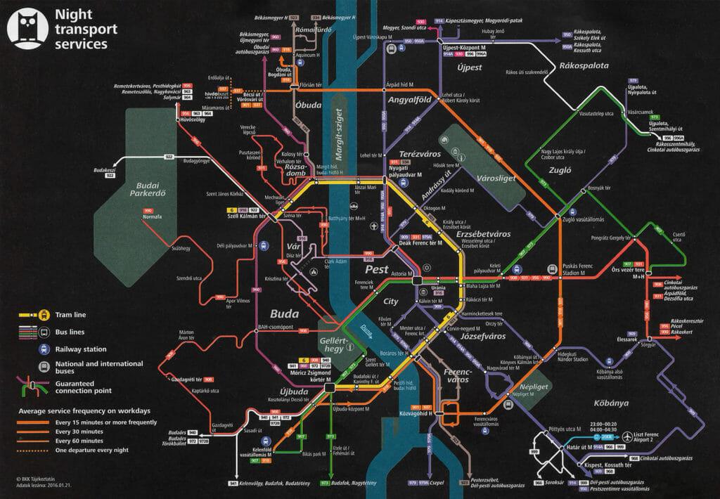 Nachtfahrplan für Budapester Nahverkehr