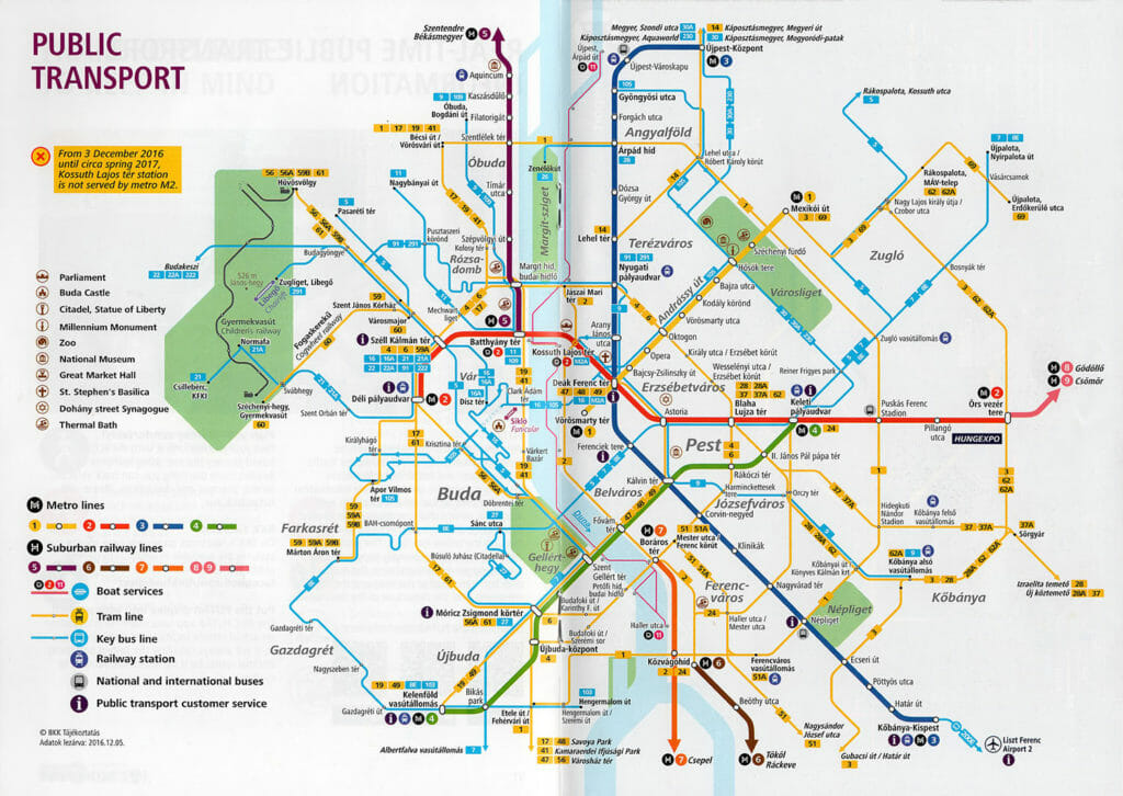 Budapest Nahverkehrskarte mit Linien für Metro, Straßenbahn und Bus