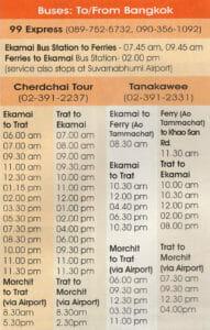 Busfahrplan Bangkok - Koh Chang