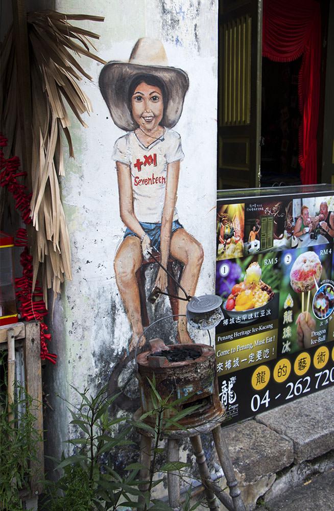 Straßenkunst in der Cannon Street von Penang