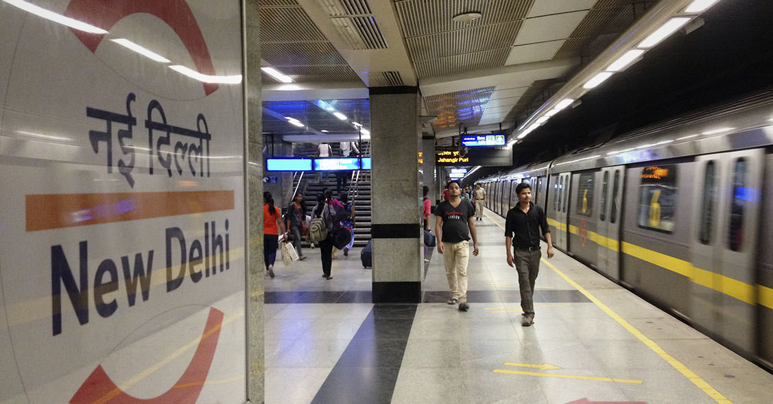 Die Metro-Station in Neu-Delhi