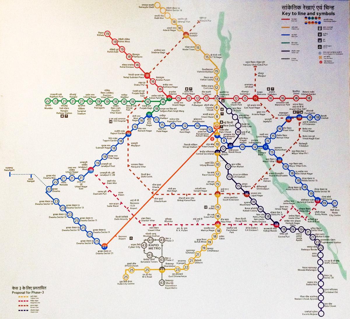 Delhi-Metro-Linien-Karte
