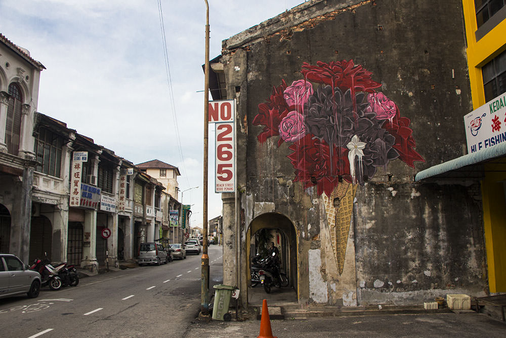 Eine Eisblume als Streetart in Georgetown
