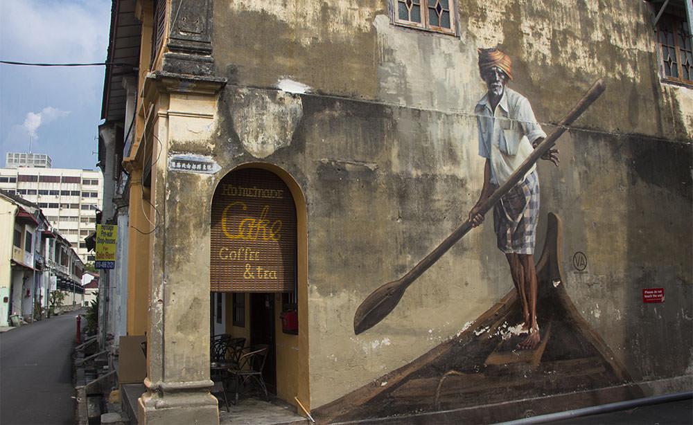 Fisherman - das bekannte Street-Art-Motiv eines Fischers von Julia Volchkova