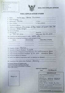 Formular-Thailand-Visum-auf-Bali
