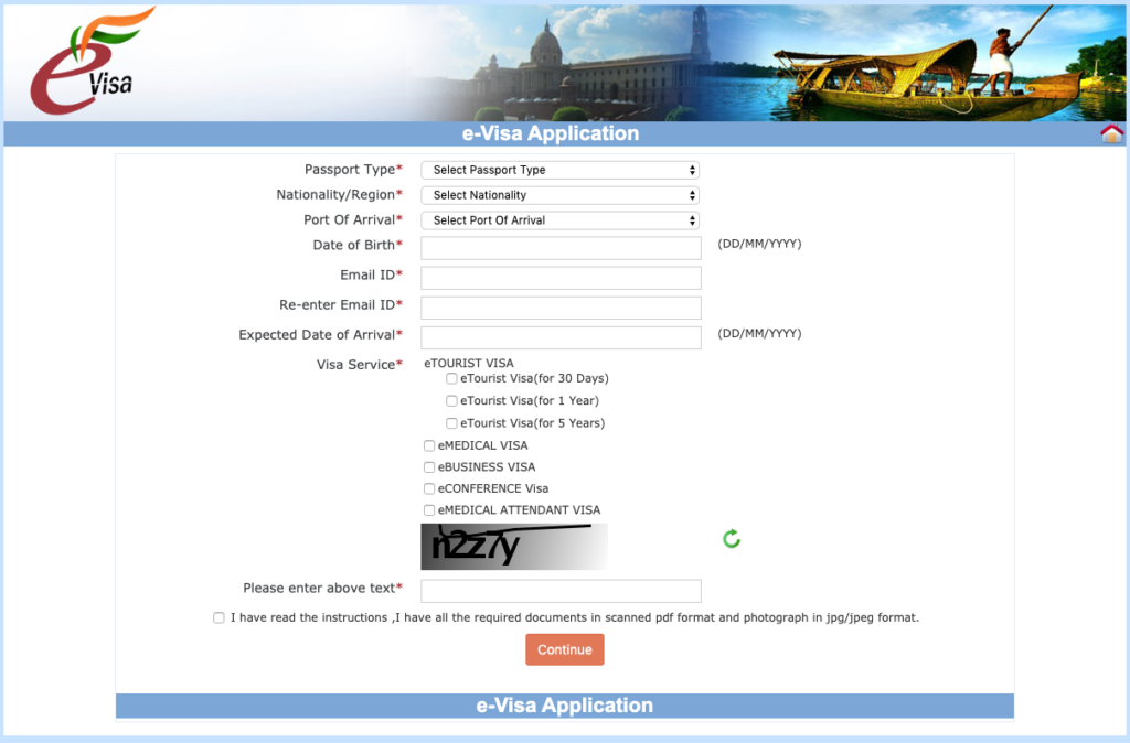Erste Formularseite zur Beantragung des e-Visums für Indien