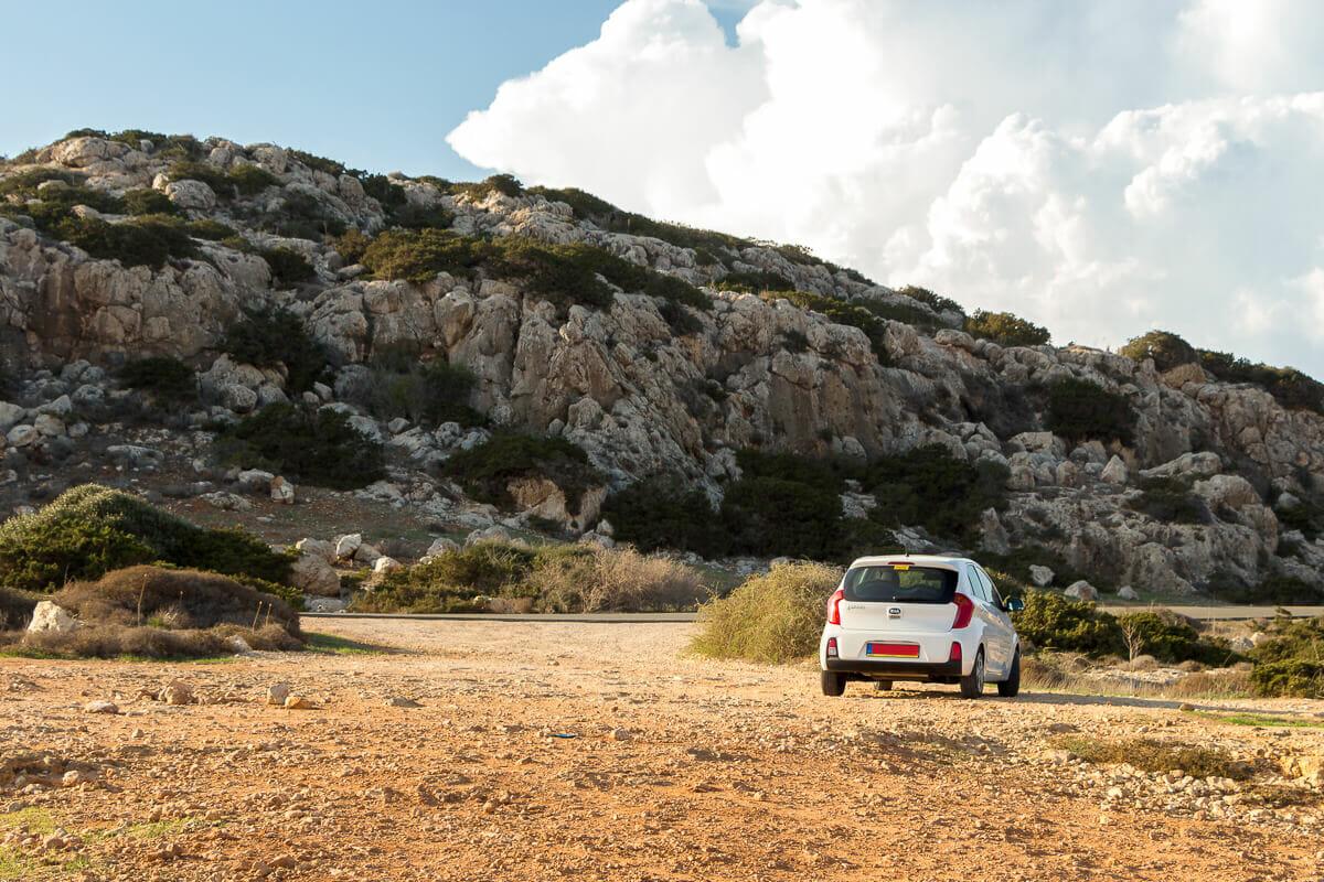 Unser Mietwagen im Cape Greco Nationalpark auf Zypern