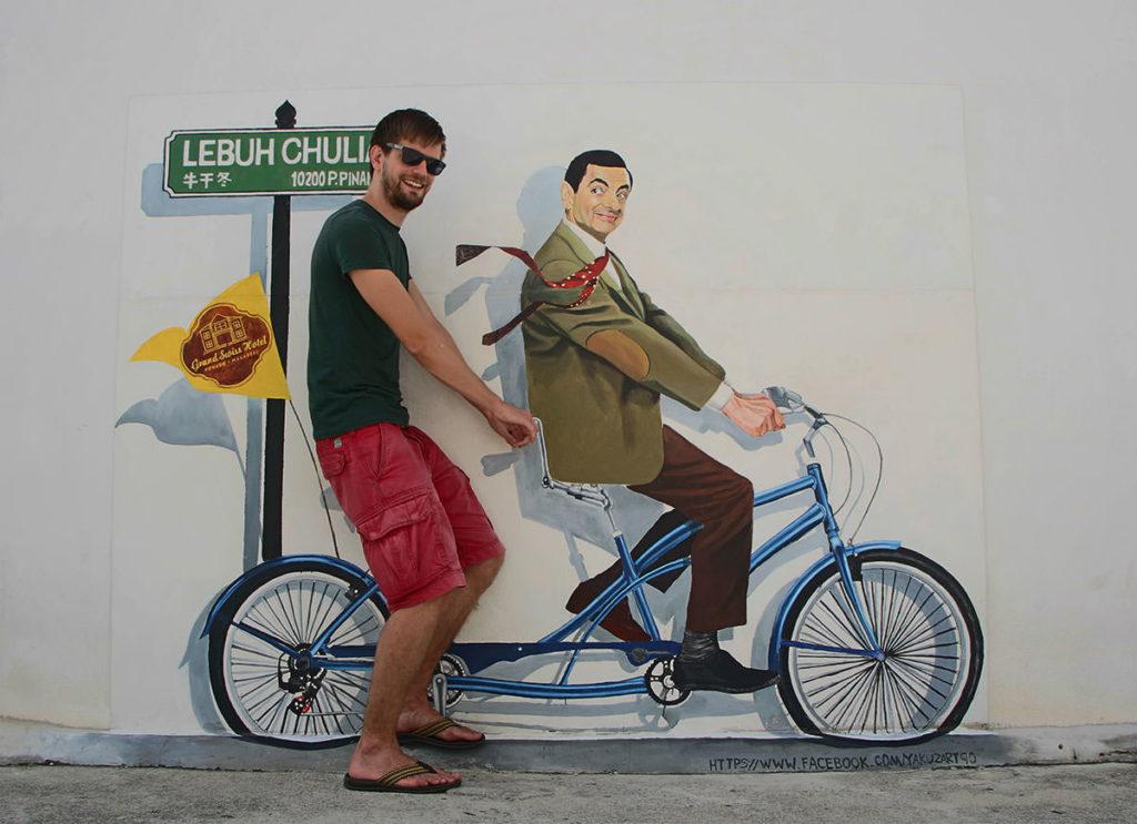 Neueres Straßenkunstwerk mit Mister Bean