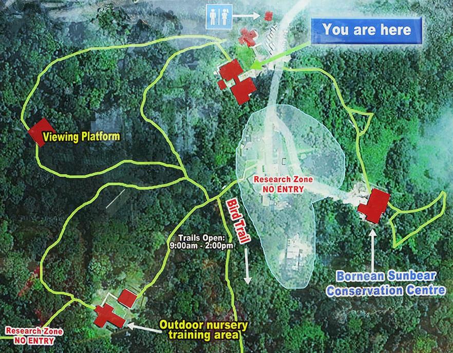 Karte des Orang-Utan-Rehabilitationszentrums in Sepilok (Borneo)