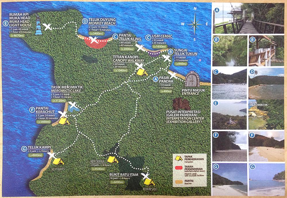 Penang-Nationalpark-Karte-Route-Wanderwege