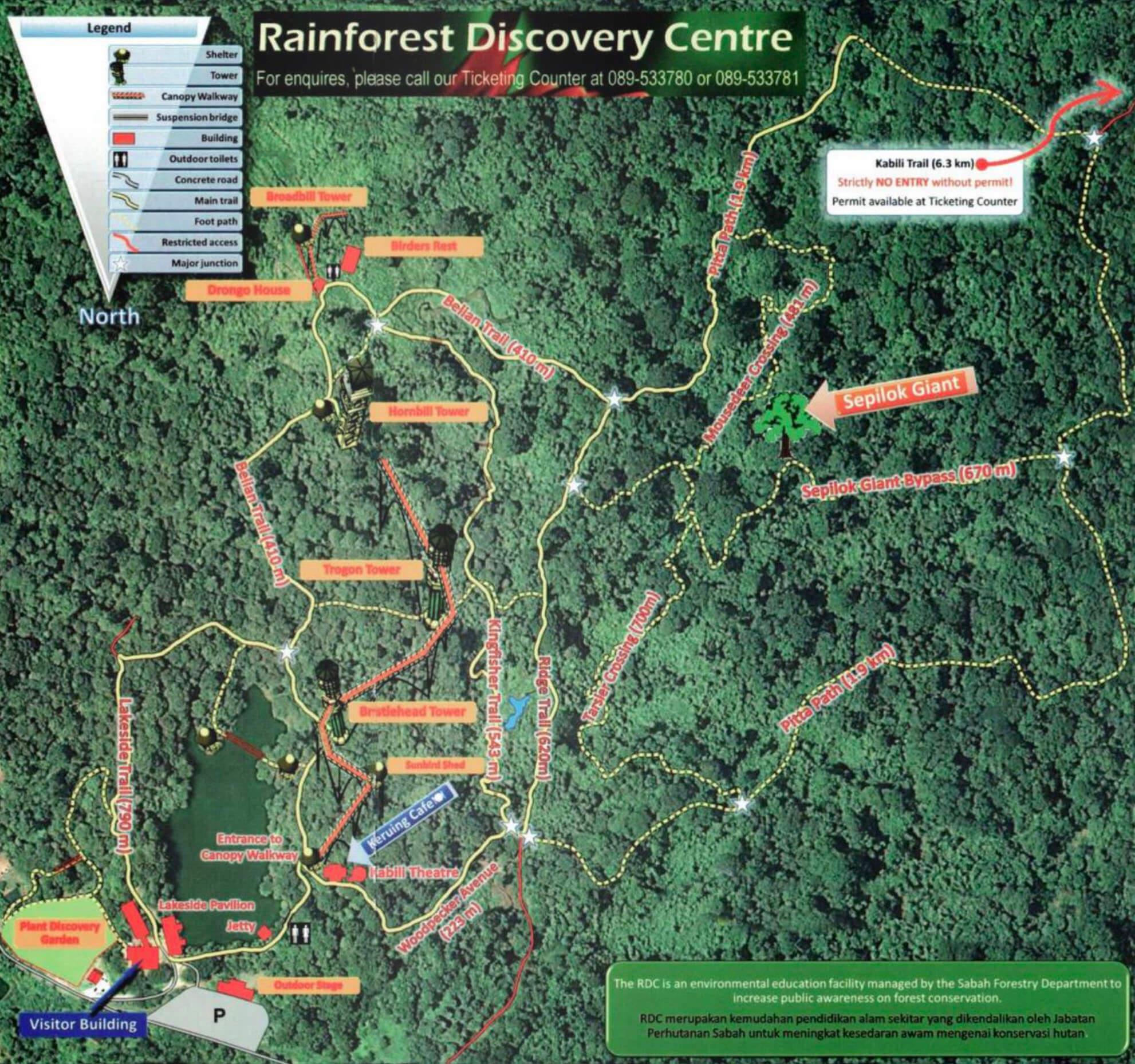 Karte des Rainforest Discovery Centres in Sepilok