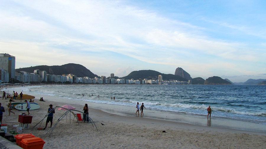 Der braslilianische Strand Copacabana in Rio des Janeiro