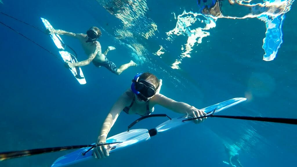 Durch die Subwing-Boards konnten wir wie Delfine durch den Ozean schwimmen