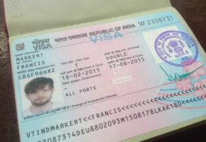Indien-Visum im Reisepass von Francis