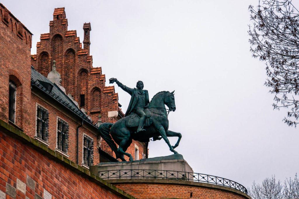 Reiterstatue Tadeusz Kosciuszko vor der Burg Wawel Krakaus