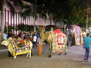 Vor dem Minakshi-Tempel in Madurai