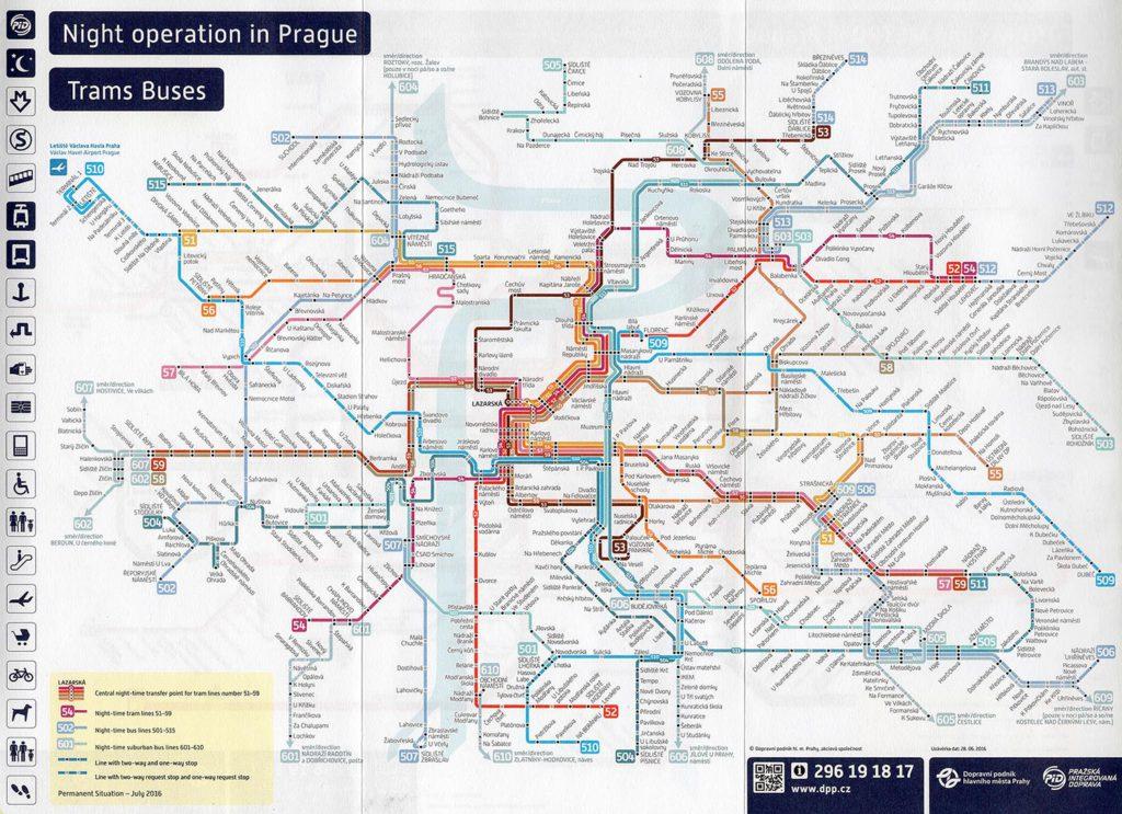 Prager Nachtfahrplan für Bus und Straßenbahn