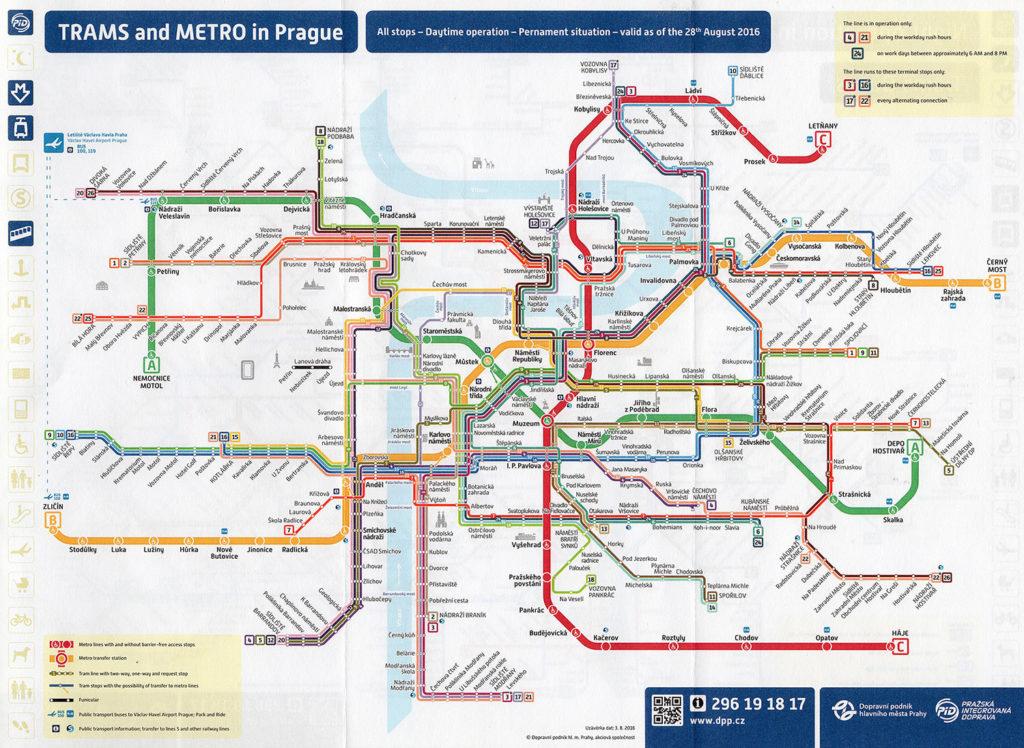 Streckennetz in Prag für Straßenbahn, Metro und Bus