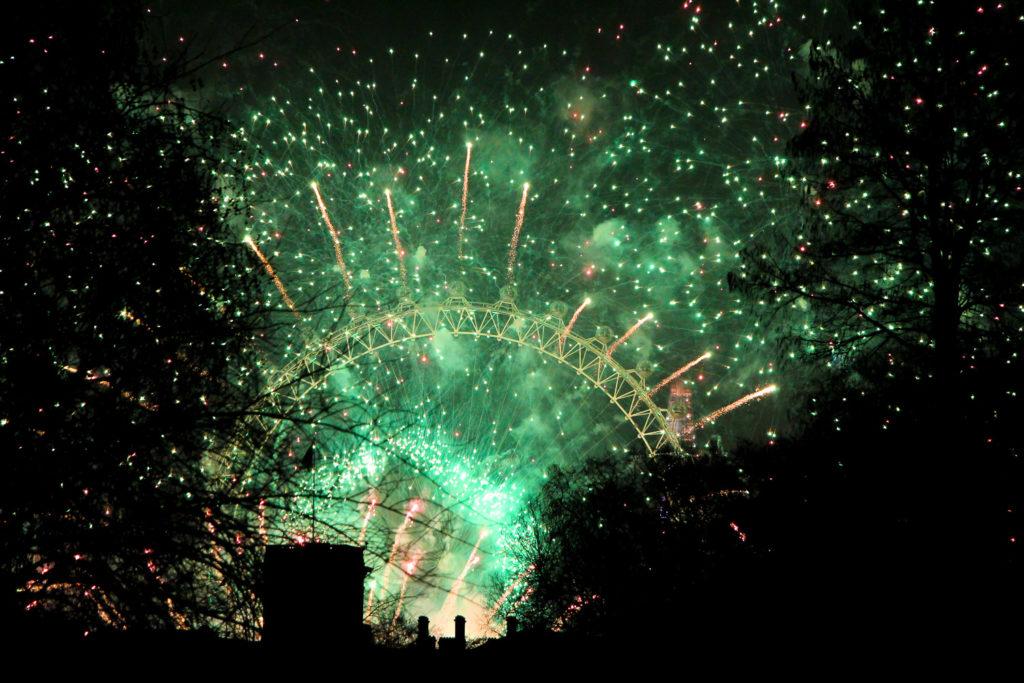 Großes Silvester-Feuerwerk am London Eye